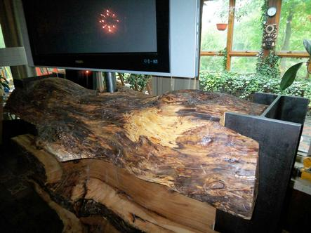 OAK LOG FURNITURE WITH I BEAMS TV STAND